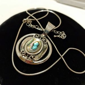 Modernist Abalone SILVER Necklace long pendent